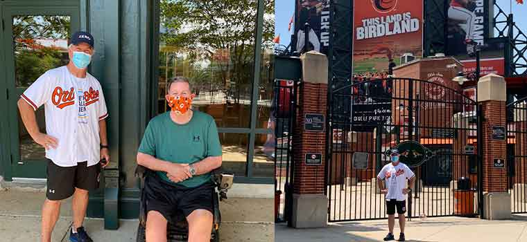 Dr. Dave Mayer on some of his recent walks over the last week. He was joined by Jack Gentry (pictured in the left image) at the finish line on his most recent walk to Camden yards.